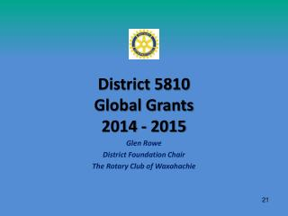 District 5810  Global Grants 2014 - 2015
