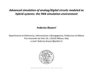 Advanced simulation of analog/digital circuits modeled as hybrid systems: the PAN simulation environment