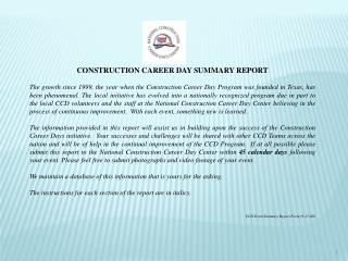 CONSTRUCTION CAREER DAY SUMMARY REPORT