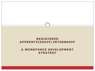 Registered apprenticeship/internship A workforce development strategy