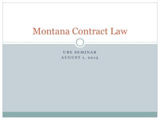 Montana Contract Law