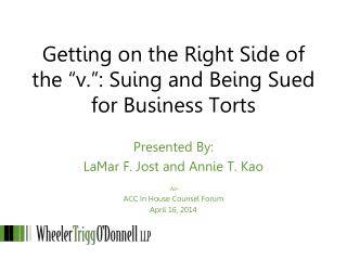 """Getting on the Right Side of the """"v."""": Suing and Being Sued for Business Torts"""