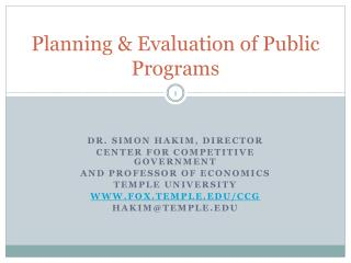 Planning & Evaluation of Public Programs