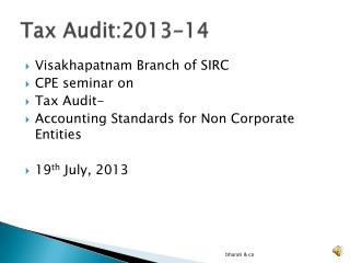 Tax Audit:2013-14