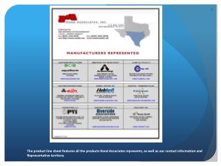 The product line sheet features all the products Rand Associates represents, as well as our contact information and Rep