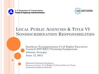 Local Public Agencies & Title VI Nondiscrimination Responsibilities