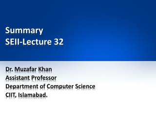 Summary SEII-Lecture  32