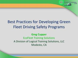 Best Practices for Developing Green Fleet Driving Safety Programs