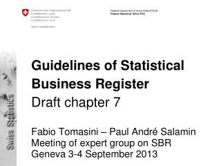 Guidelines of Statistical Business Register  Draft chapter  7
