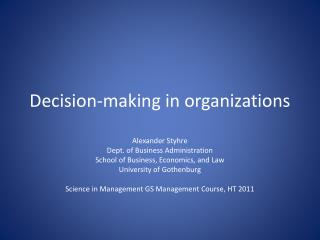 Decision-making  in  organizations