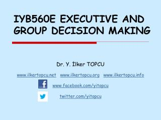 IYB560E EXECUTIVE AND GROUP DECISION MAKING