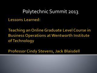 Polytechnic Summit 2013
