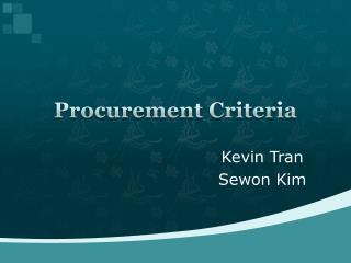 Procurement Criteria