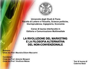 Università degli Studi di Pavia Facoltà di Lettere e Filosofia, Scienze politiche,