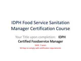 IDPH Food Service Sanitation Manager Certification Course