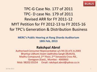 MERC's Public Hearing at Rang  Sharda  Auditorium  18th Feb, 2013