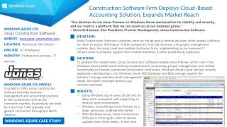 WINDOWS AZURE CSV :  Jonas Construction Software WEBSITE :   www.jonas-construction.com LOCATION :   Richmond Hill, Ont