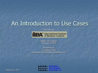 An Introduction to Use Cases