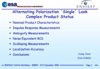 alternating polarization  single  look complex product status