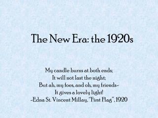 The New Era: the 1920s