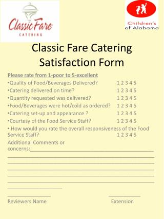 Classic Fare Catering Satisfaction Form