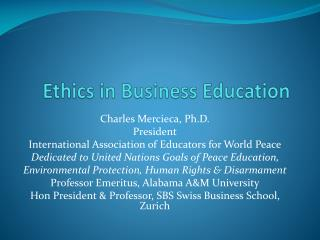 Ethics in Business Education