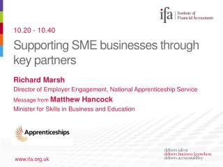 Supporting SME businesses through key partners
