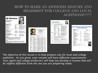 HOW TO MAKE AN AWESOME RESUME AND HEADSHOT FOR COLLEGE AND LOCAL AUDITIONS!!!!!!!!