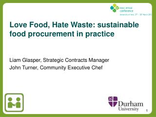 Love Food, Hate Waste: sustainable food procurement in practice