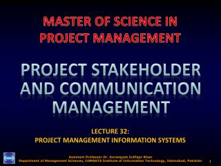 LECTURE 32:  PROJECT MANAGEMENT INFORMATION SYSTEMS