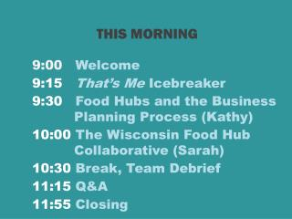 9:00    Welcome 9:15    That's Me  Icebreaker 9:30    Food Hubs and the Business 	   Planning Process (Kathy)
