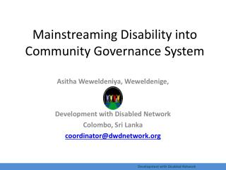 Mainstreaming Disability into Community Governance System