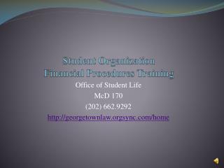 Student Organization Financial Procedures Training