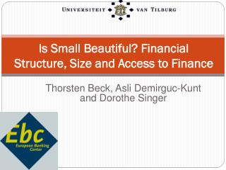 Is Small Beautiful? Financial  Structure , Size  and Access  to Finance