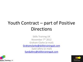 Youth Contract � part of Positive Directions