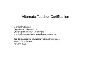 alternate teacher certification
