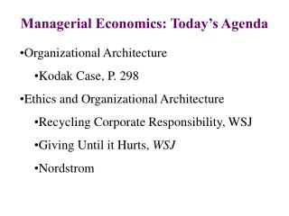 managerial economics: today s agenda