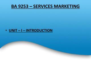 BA 9253 � SERVICES MARKETING