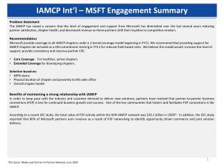 IAMCP Int'l – MSFT Engagement Summary