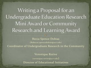 Writing a Proposal for an Undergraduate Education Research Mini Award or Community Research and Learning Award