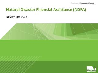 Natural Disaster Financial Assistance (NDFA)