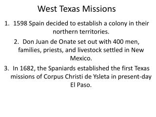 West Texas Missions