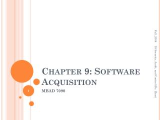 Chapter 9: Software Acquisition