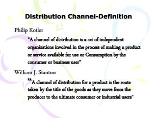 Distribution Channel-Definition