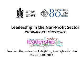 Leadership in the Non-Profit Sector  INTERNATIONAL CONFERENCE