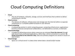 Cloud Computing Definitions