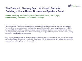 The Economic Planning Board for Ontario Presents: Building a Home Based  Business – Speakers Panel