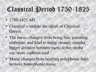 Classical Period 1750-1825