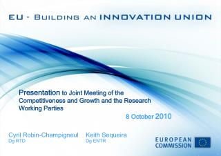 Presentation  to  Joint Meeting of the Competitiveness and Growth and the Research Working Parties