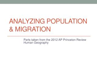 Analyzing Population  & Migration
